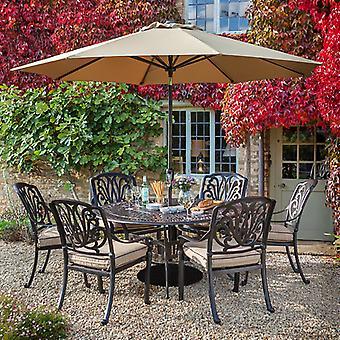 نوفا-صقلية 6 مقاعد في الهواء الطلق يلقي الألومنيوم الطعام مجموعة-1.5 متر حديقة المستديرة الجدول مع سوزان كسول آند الكراسي