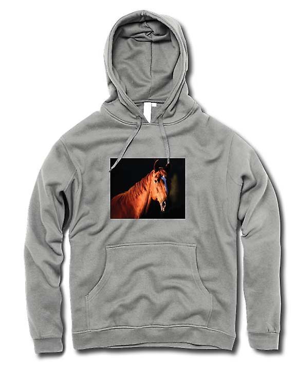 Mens Hoodie - bruin paard portret