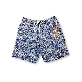 Tailor Vintage swim shorts in blue/white paisley