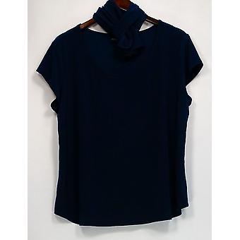 Attitudes by Renee Women's Petite Top XLP Liquid Knit Short Sleeve Blue A308329