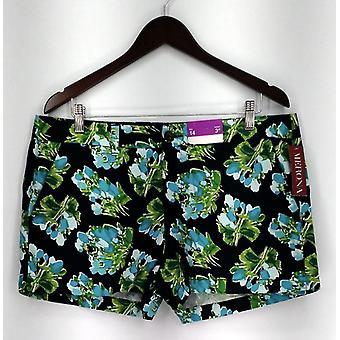 Merona shorts gedrukte rits & knop sluiting w/zakken blauw Womens