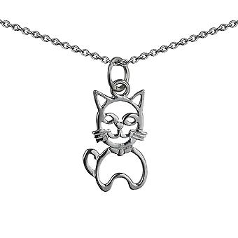 Серебряные 17x12mm пирсинг сидит кошка Кулон с Роло цепь 24 дюймов