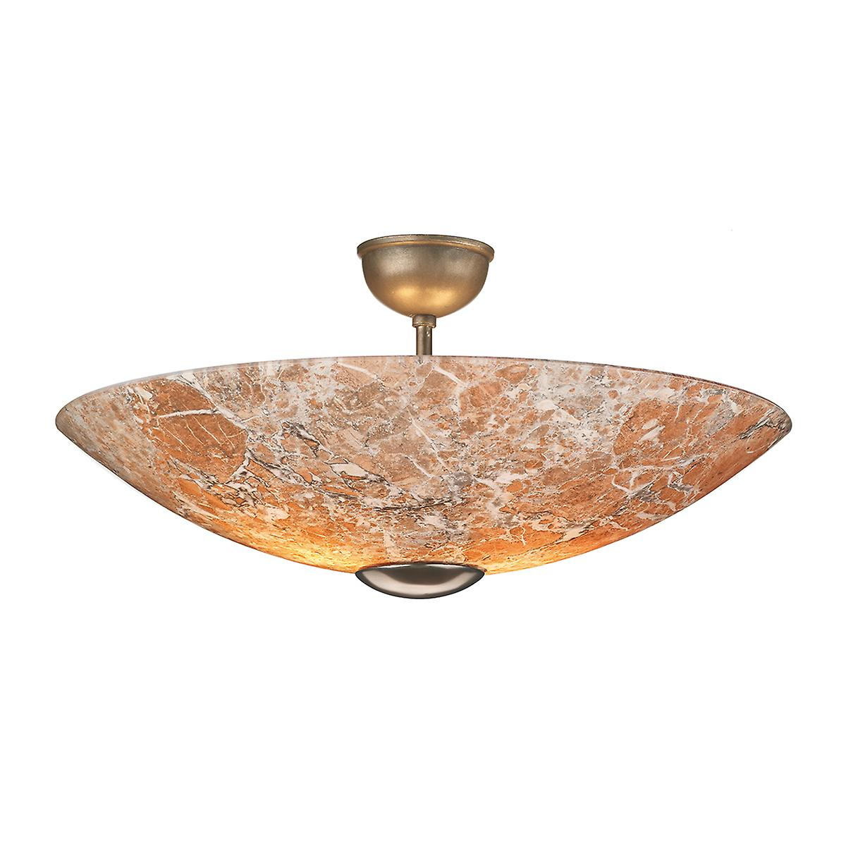 David Hunt MG54 Savoy Semi Flush Pendant In Bronze With Light Marble Glass