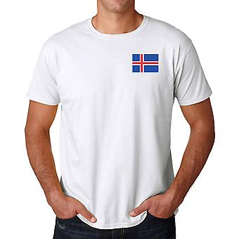 Islands flagga broderad Logo - bomull T Shirt