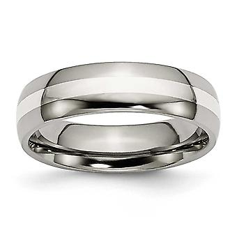 Titanium Sterling Silver Inlay 6mm Polished Band - Size 9.5