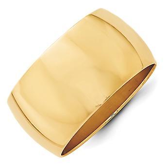 14 k イエローゴールド金 12 mm 半丸バンド リング - リング サイズ: 4 に 14