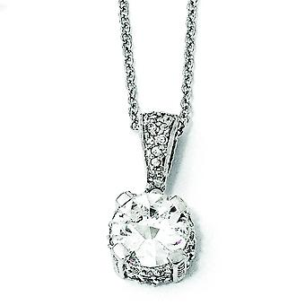 Sterling Silver CZ Necklace - 18 Inch