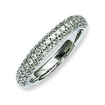 Sterling zilveren Rhodium Plated met CZ Ring - Ringmaat: 6 tot 8