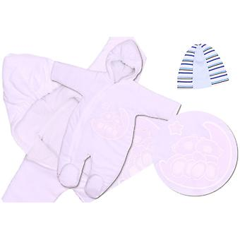 BlueberryShop Emboidered Velour Cosy Pramsuit Snowsuit Footmuff Cosytoes with Hat