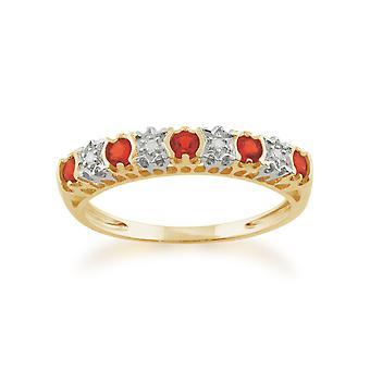 Gemondo 9ct Yellow Gold, 0,15 ct Fire Opal & Diamond halve eeuwigheid Ring
