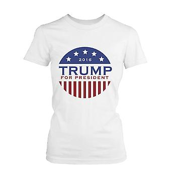 Women's Trump Donald for President 2016 Campaign T-shirt White Short Sleeve Tee Funny Shirt