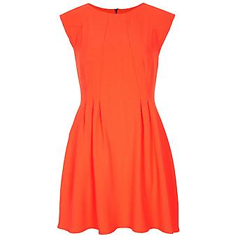 Topshop Orange Regular Crepe Seam Flippy Dress