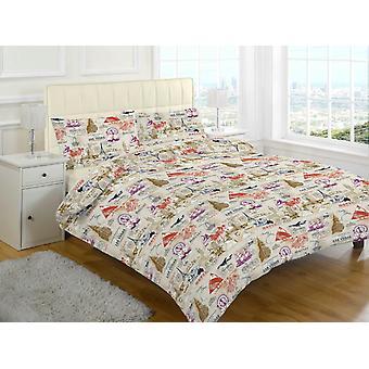 Mason Vintage tryckt Quilt påslakan sängkläder