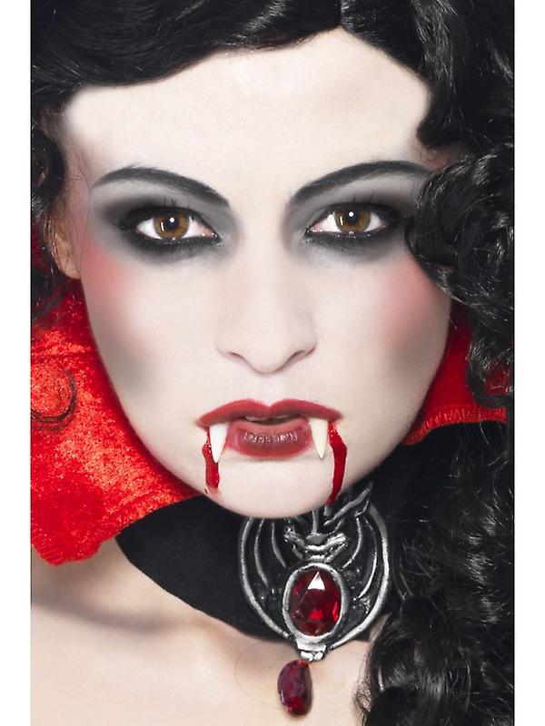 Esponja de maquillaje de la vampiro Kit con colmillos tez y sangre en tubo
