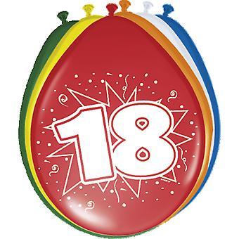 Färgglada ballonger ballong nummer 18 födelsedagsfest 8 St. dekoration ballonger