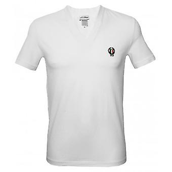 Dolce & Gabbana Sport Crest Deep V-Neck T-Shirt, White