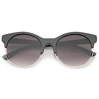 Modern Half Frame Metal Trim Round Cat Eye Sunglasses 53mm