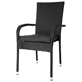 Ldk Stacking Chair Marlene Ratán Pe Black 56X65X94 Cm