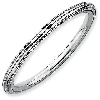 Sterling Silver Stackable Expressions Rhodium Step-down Ring - Ring Size: 5 to 10