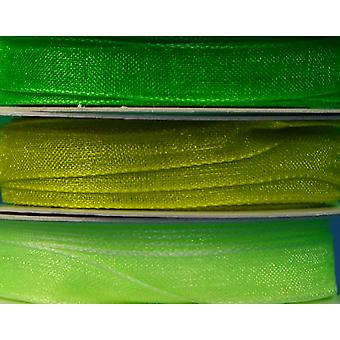 7mm Greens Co-Ordinating Organza Ribbon Set for Crafts - 3 Pack