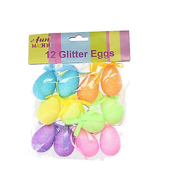 Set of 12 Assorted Glitter Eggs Ideal For Easter Decorations & Hunts