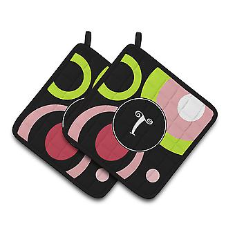 Letter T Monogram - Retro in Black Pair of Pot Holders
