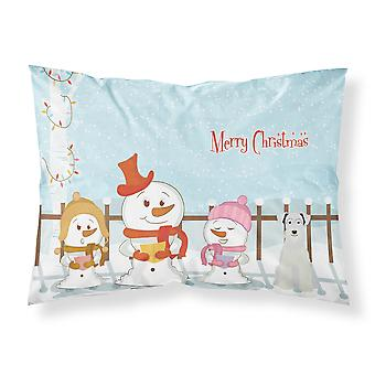 Merry Christmas Carolers Miniature Schanuzer White Fabric Standard Pillowcase