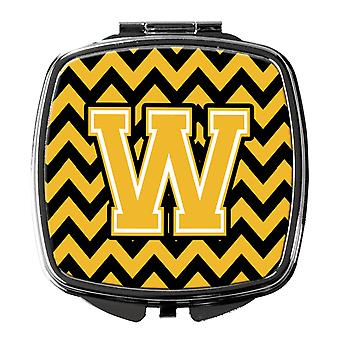Carolines Treasures  CJ1053-WSCM Letter W Chevron Black and Gold Compact Mirror