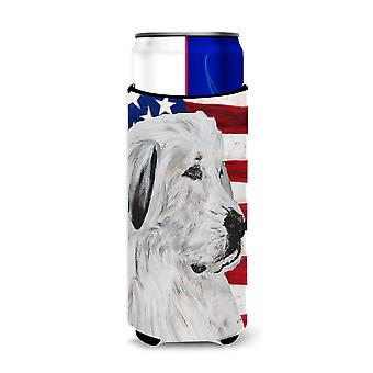 Great Pyrenees with American Flag USA Ultra Beverage Insulators for slim cans