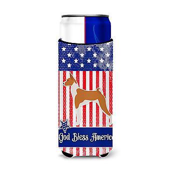 USA Patriotic Basenji Michelob Ultra Hugger for slim cans
