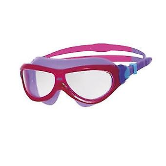 Zoggs Phantom Junior Swim Mask 6-14yrs- Clear Lens - Pink/Purple Frame