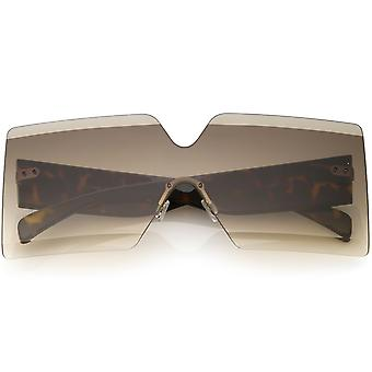 Oversize randlose Shield Sonnenbrille dicken Armen abgeschrägt Gradient Objektiv 73mm