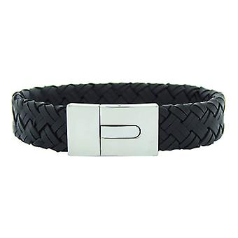 Christian Leather Black Bracelet White Clasp