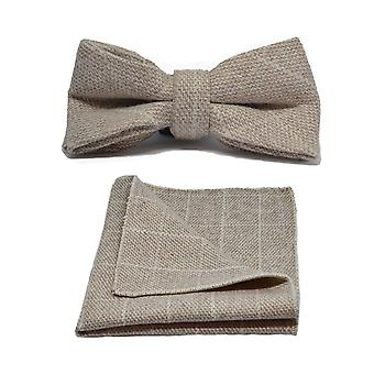 Beige Birdseye Check Bow Tie & Pocket Square Set
