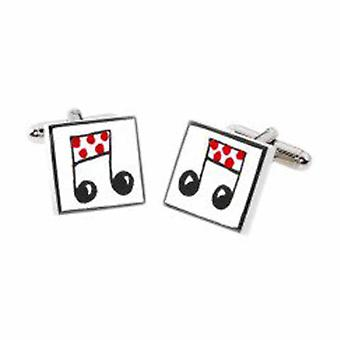 Red Musical Notes Cufflinks by Sonia Spencer, in Presentation Gift Box. Hand painted