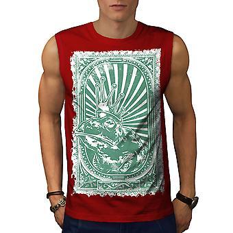 King Frog Toad Vintage Men RedSleeveless T-shirt | Wellcoda