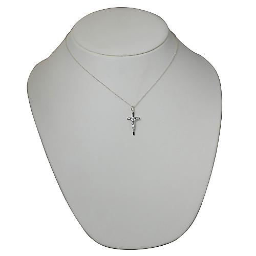 Silver 25x14mm solid block Crucifix Cross with a rolo Chain 18 inches