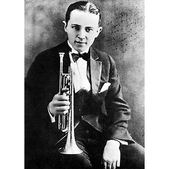 (ليون) طباعة ملصق البوق Beiderbecke البدّالة الجاز الأمريكي N(1903-1931) صورت في عام 1924 بجمع المزارع