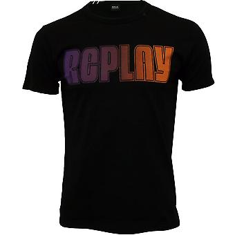 Replay Multicolour Logo T-Shirt, Black