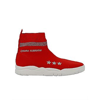 Chiara Ferragni ladies CF1947 red fabric ankle boots