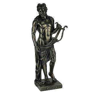 Polyresin Posing Greek God Apollo Holding His Lyre Statue