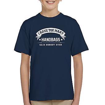 Eu tenho muitas bolsas disse ninguém alguma vez do garoto t-shirt
