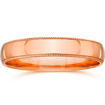 3mm Milgrain 14K Rose Gold Polished Wedding Band