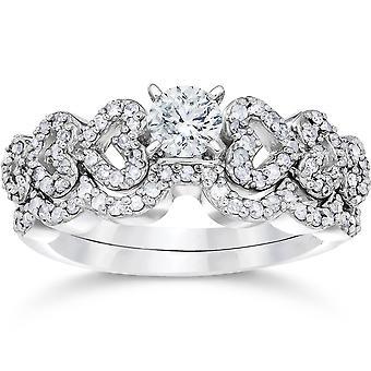 3/4 КТ сердца форму алмаз обручальное кольцо набор 14K Белое золото