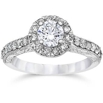 3 / 4ct Vintage Halo Diamond Engagement Ring 14K White Gold