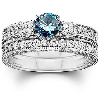 1 1/4ct Blue Diamond Three Stone Ring Set 14K White Gold