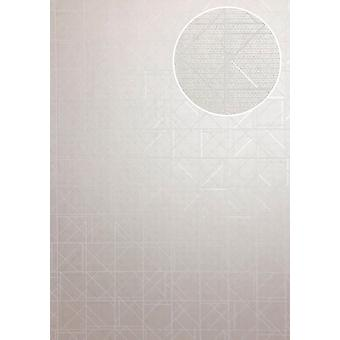 Graphic wallpaper ATLAS XPL-591-4 non-woven wallpaper structured with geometric shapes shiny cream white perl white ivory 5.33 m2
