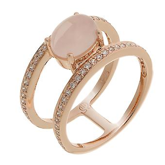 Orphelia Silver 925 Ring Rosegold Two Lines Center Stone  ZR-7122/RG