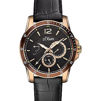 s.Oliver men's wrist watch analog quartz leather IP gold SO-15150-LMR