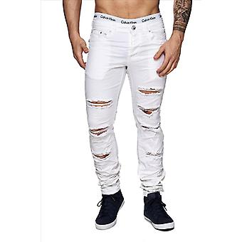 Herren destroyed Jeans Denim Style weiß zerissen Skinny Fit Risse Used Look